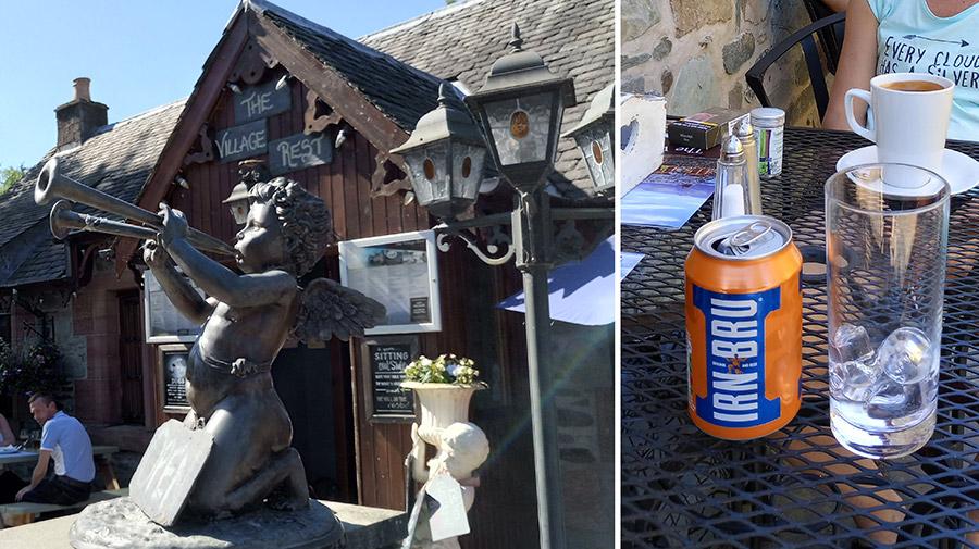Un petit verre d'Irn Bru bien mérité, dans un café du village de Luss