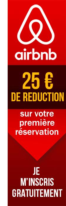 25 euros de réduction pour votre première réservation avec Airbnb